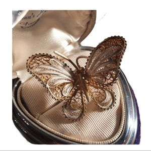 Antique 800 Silver filagree butterfly brooch